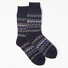 Buy John Lewis Fairisle Lounge Socks, Blue/Multi Online at johnlewis.com