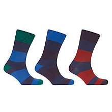 Buy John Lewis Wide Rugby Stripe Socks, Pack of 3, Blue/Multi Online at johnlewis.com