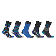 Buy John Lewis Multi Stripe Socks, Pack of 5, Navy/Multi Online at johnlewis.com