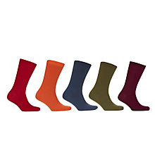 Buy John Lewis Bright Plain Rib Socks, Pack of 5, Multi Online at johnlewis.com