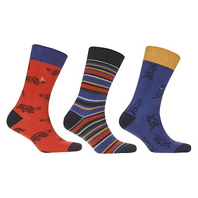 John Lewis Hare and Tortoise Socks, Pack of 3, Blue/Multi