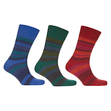Buy John Lewis Twisted Stripe Socks, Pack of 3, Multi Online at johnlewis.com
