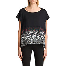 Buy AllSaints Juba Pina Longline T-Shirt, Black Online at johnlewis.com