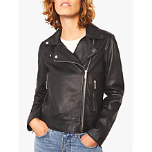 Buy Jigsaw Clean Biker Jacket, Black Online at johnlewis.com