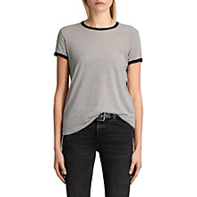 Buy AllSaints Maicy Stripe T-Shirt, Grey Marl/Nude Online at johnlewis.com