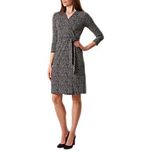 Buy Hobbs Sally Triangle Print Wrap Dress, Black/Ivory Online at johnlewis.com