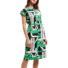 Buy Jaeger Linen Slash Neck Dress, Black/Ivory Online at johnlewis.com