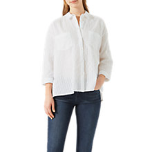 Buy Jigsaw Embroidered Stripe Shirt, White Online at johnlewis.com