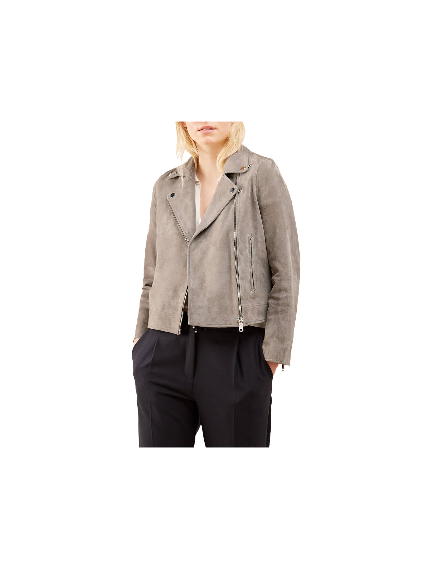 a966ddfed Jigsaw Suede Biker Jacket, Pebble at John Lewis & Partners