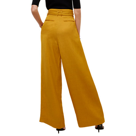Buy Jaeger  Tie-Waist Wide-Leg Trousers, Yellow Online at johnlewis.com