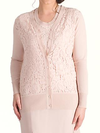 Chesca Corded Lace Trim Cardigan, Dark Blush