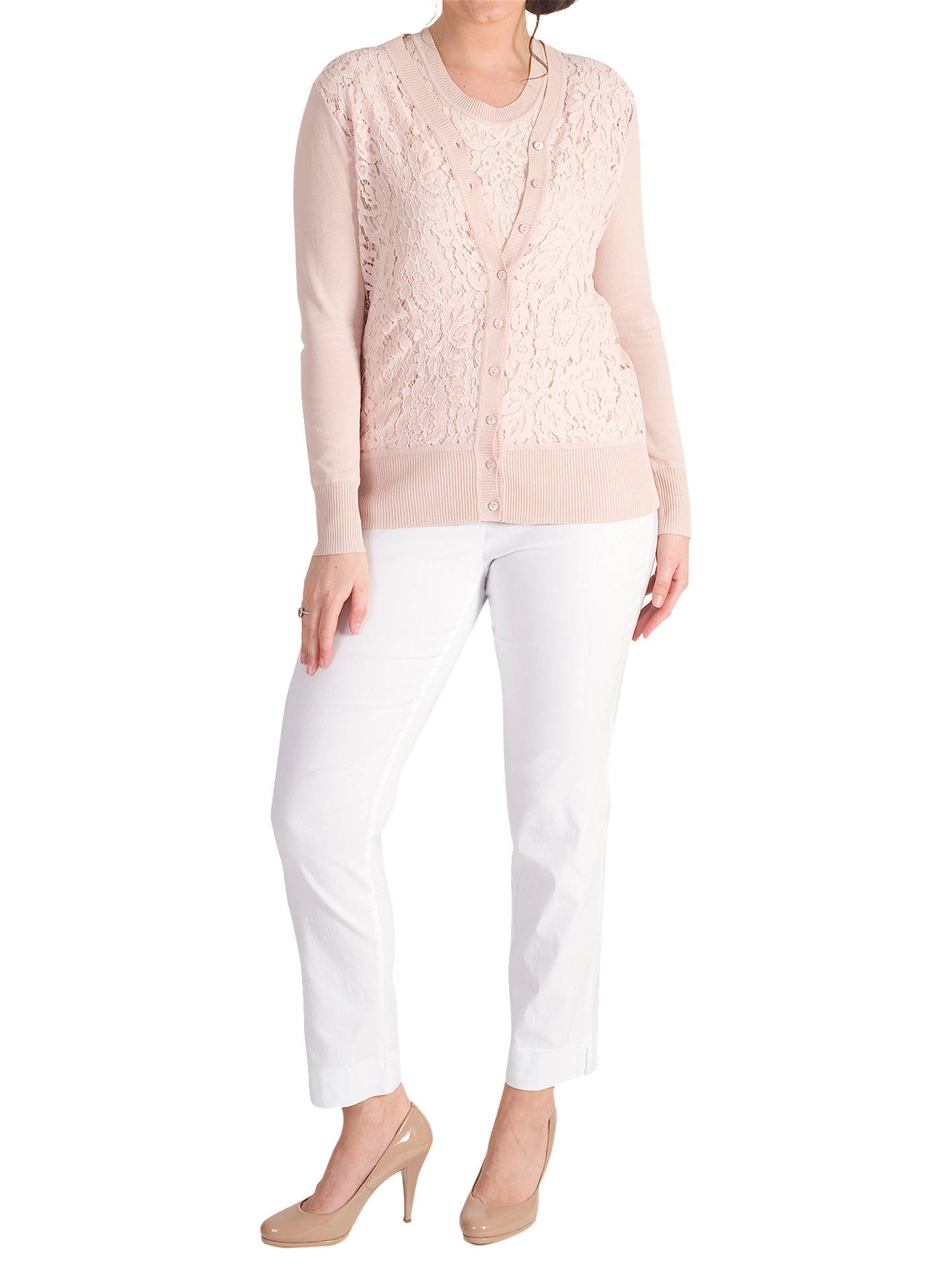 BuyChesca Corded Lace Trim Cardigan, Dark Blush, 12-14 Online at johnlewis.com