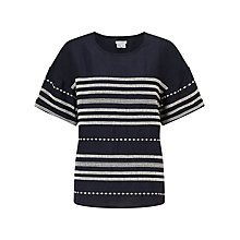 Buy Jigsaw Stitch Detail Linen T-Shirt, Navy Online at johnlewis.com