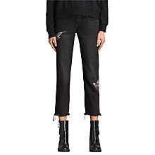 Buy AllSaints Birds Embroidery Cropped Frayed Boyfriend Jeans, Washed Black Online at johnlewis.com