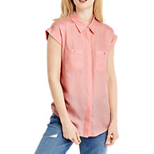 Buy Oasis Short Sleeve Collar Shirt, Coral Online at johnlewis.com