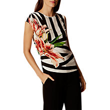 Buy Karen Millen Zig Zag Floral Print Top, Black/Multi Online at johnlewis.com