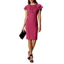 Buy Karen Millen Floral Lace Panel Pencil Dress, Fuchsia Online at johnlewis.com