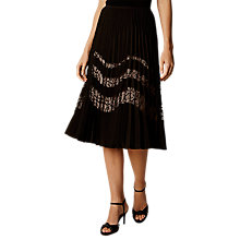 Buy Karen Millen Pleated Knee Length Skirt, Black Online at johnlewis.com