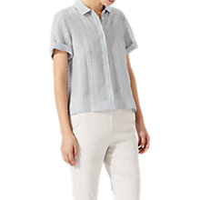 Buy Jigsaw Short Sleeve Check Linen Shirt, Icy Grey Online at johnlewis.com