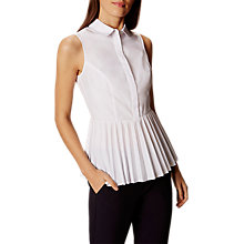 Buy Karen Millen Pleated Hem Shirt, White Online at johnlewis.com