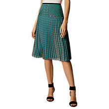 Buy Karen Millen Fluid Colour Block Skirt, Turquoise/Black Online at johnlewis.com
