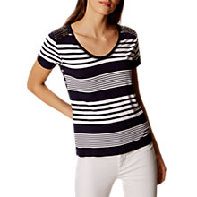 Buy Karen Millen Stripe Studded T-Shirt, Blue/Multi Online at johnlewis.com