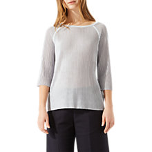 Buy Jigsaw Pleated Rib Swing Jumper, Icy Grey Online at johnlewis.com