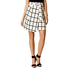Buy Karen Millen Windowpane Wrap Skirt, White/Multi Online at johnlewis.com
