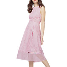 Buy Warehouse Linear Lace Dress, Light Pink Online at johnlewis.com