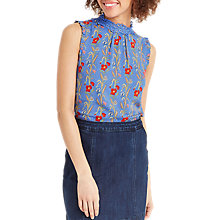 Buy Oasis Poppy Lace Trim Cami, Blue/Multi Online at johnlewis.com