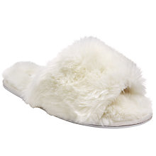 Buy John Lewis Faux Fur Slider Slippers, Cream Online at johnlewis.com