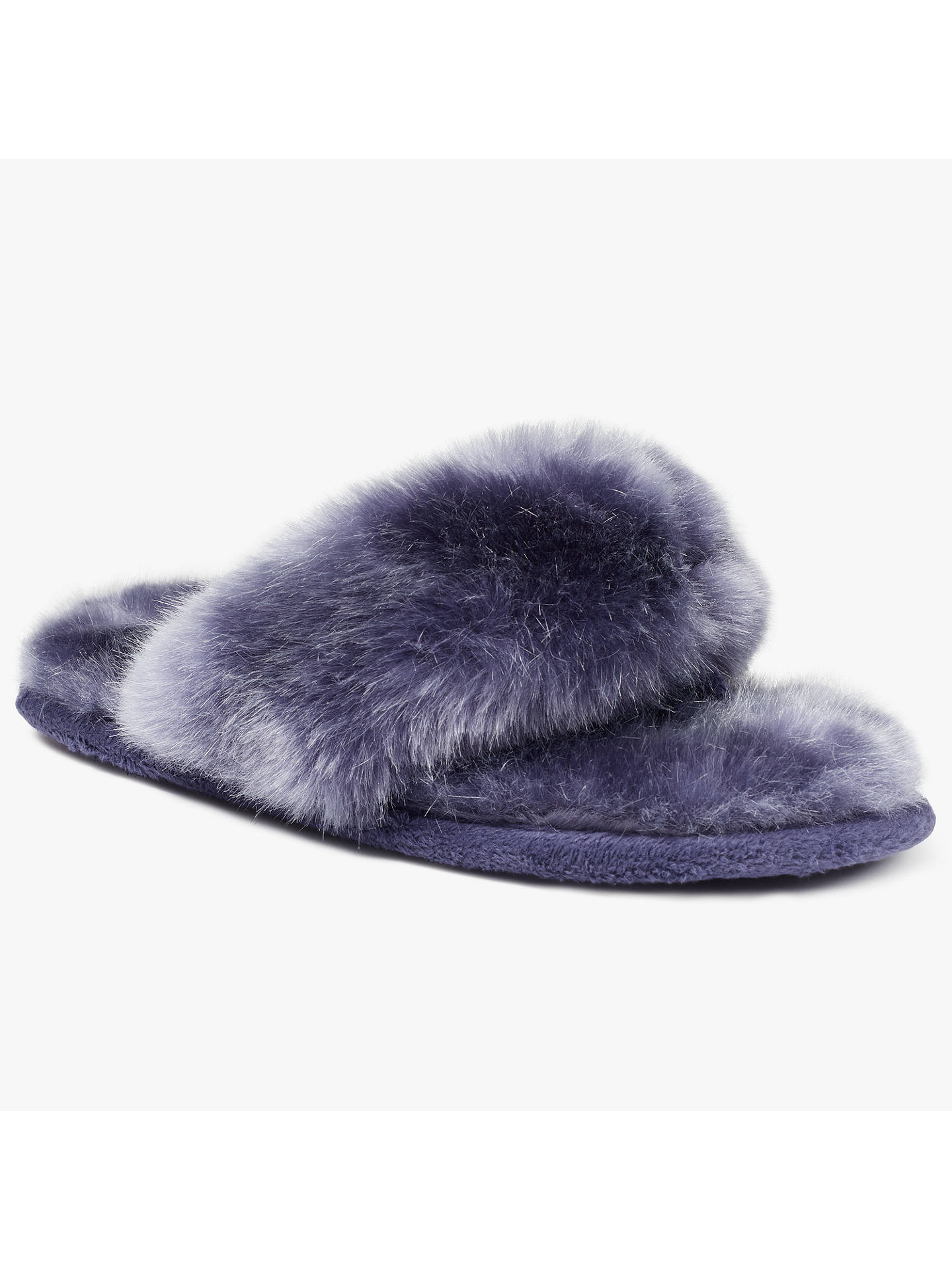 BuyJohn Lewis Faux Fur Toe Post Slippers, Purple, 3-4 Online at johnlewis.com