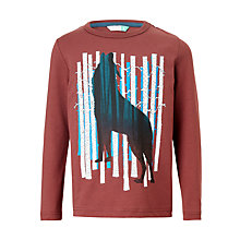 Buy John Lewis Boys' Wolf Silhouette T-Shirt, Red Online at johnlewis.com