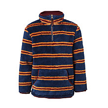 Buy John Lewis Boys' Stripe Zip Neck Fleece, Navy Online at johnlewis.com