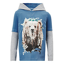 Buy John Lewis Boys' Bear Hoodie T-Shirt, Grey/Blue Online at johnlewis.com