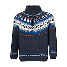 Buy John Lewis Boys' Fair Isle Half Zip Jumper, Blue Online at johnlewis.com