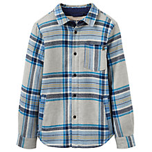Buy Little Joule Boys' Sherpa Lined Check Shacket, Green Marl Online at johnlewis.com