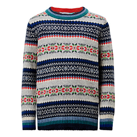 Buy John Lewis Boys' Fair Isle Knit Jumper, Mutli | John Lewis