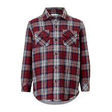Buy John Lewis Boys' Blanket Check Print Shirt, Burgundy Online at johnlewis.com