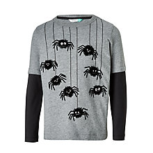 Buy John Lewis Boys' Spiders Long Sleeve T-Shirt, Grey Online at johnlewis.com