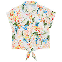 Buy Jigsaw Girls' Tropical Print Woven Shirt, White Online at johnlewis.com