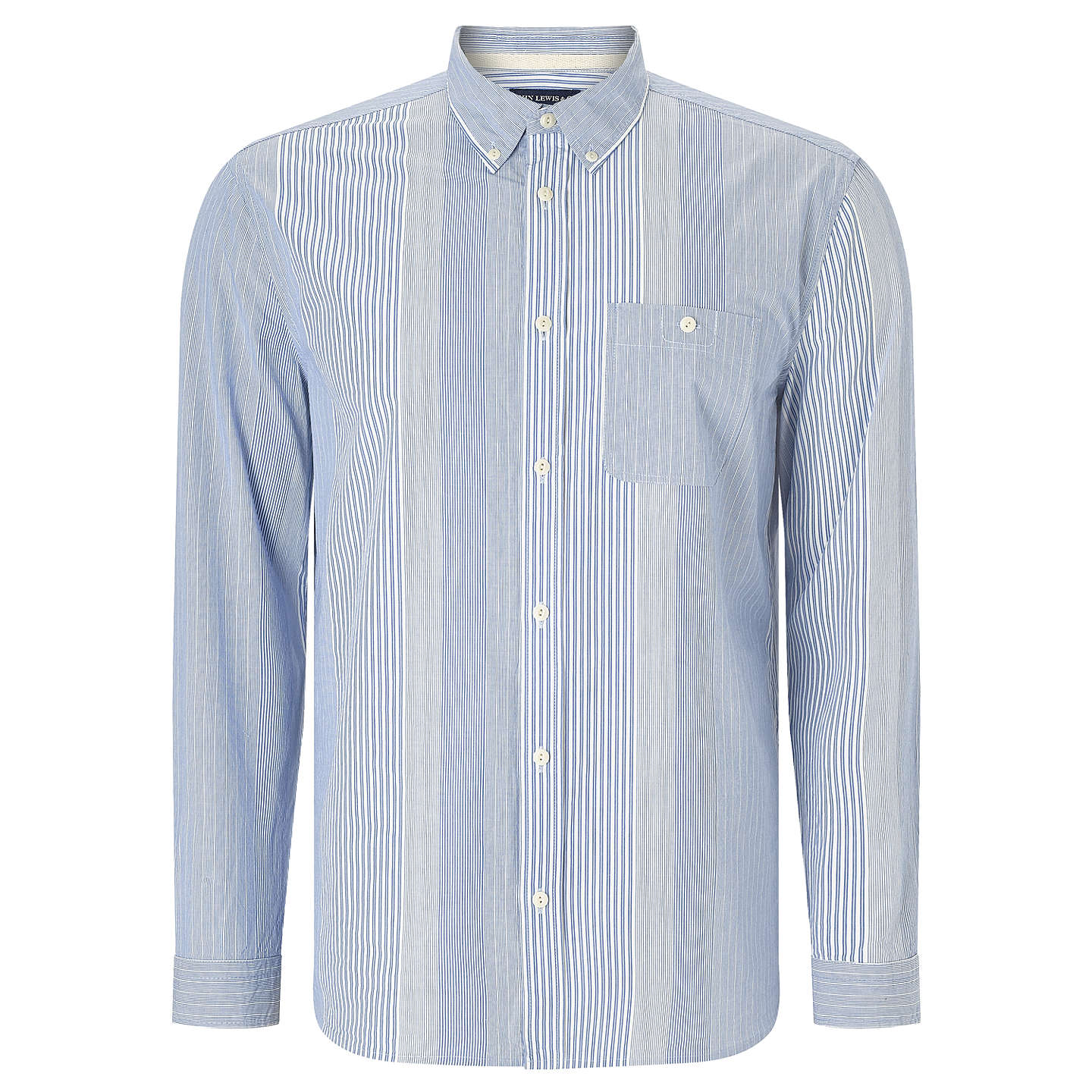BuyJOHN LEWIS & Co. Lightweight Cotton Stripe Shirt, Blue, S Online at johnlewis.com
