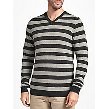 Buy John Lewis Italian Cashmere Stripe V-Neck Jumper Online at johnlewis.com