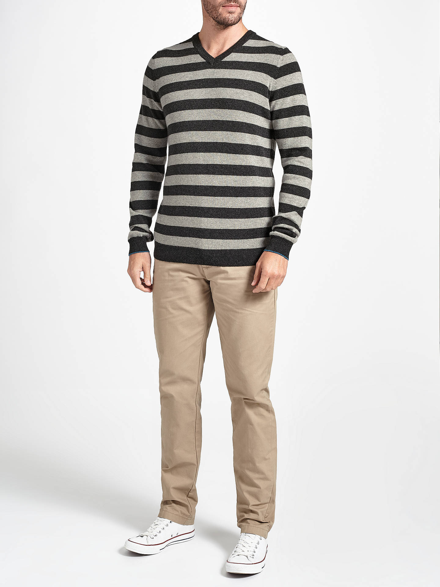 BuyJohn Lewis Italian Cashmere Stripe V-Neck Jumper, Grey, S Online at johnlewis.com