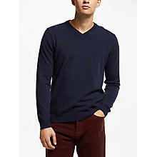 Buy John Lewis Italian Cashmere V-Neck Jumper, Navy Online at johnlewis.com