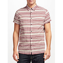 Buy JOHN LEWIS & Co. Rustic Stripe Short Sleeve Shirt, Red Online at johnlewis.com