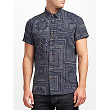 Buy JOHN LEWIS & Co. Bandana Print Short Sleeve Shirt, Dark Blue Online at johnlewis.com