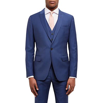 Jaeger Textured Weave Slim Fit Suit Jacket, Blue
