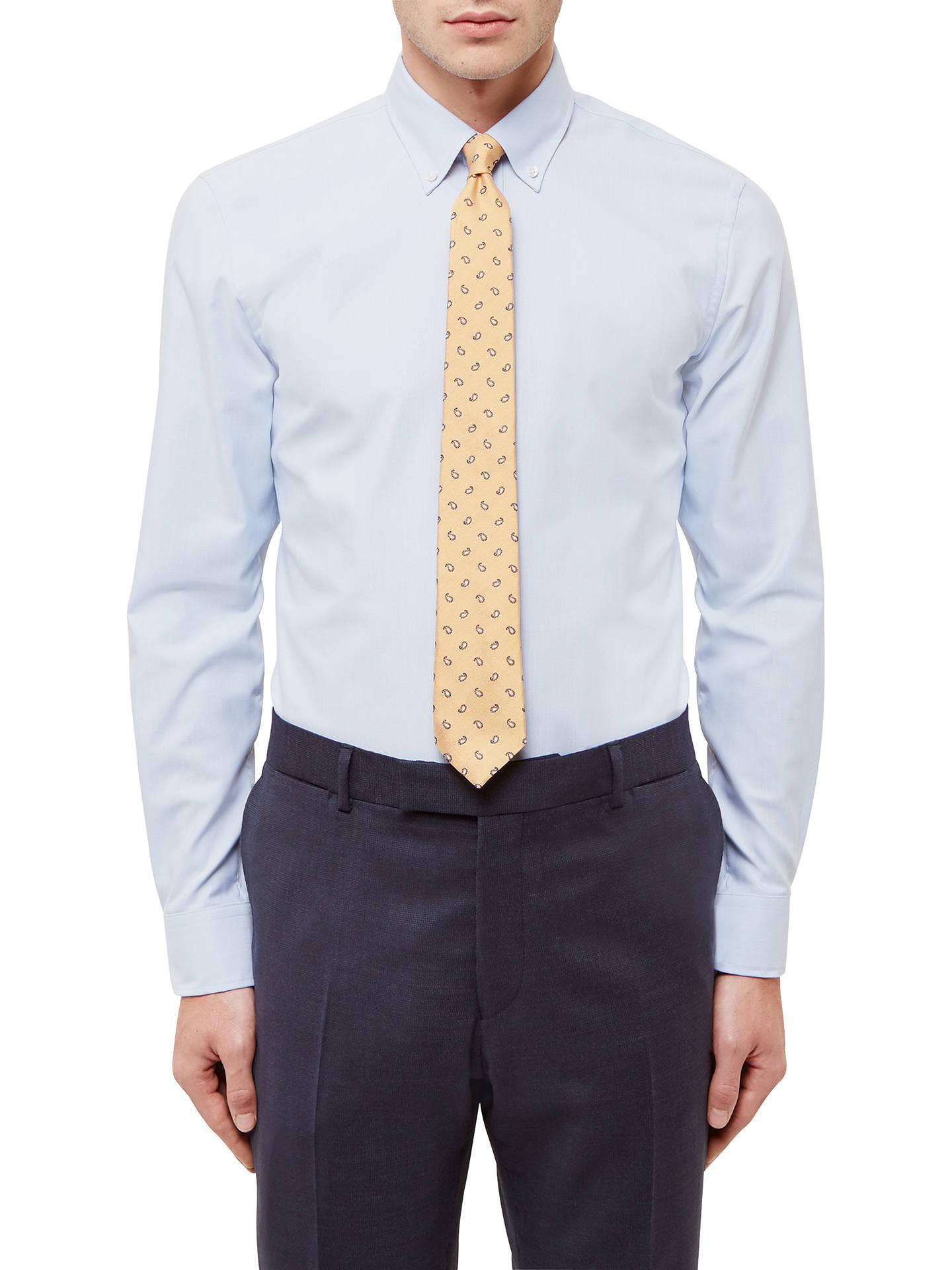 ccd53c70 Buy Jaeger Vertical Stripe Slim Fit Cotton Linen Shirt, Light Blue, 15  Online at ...