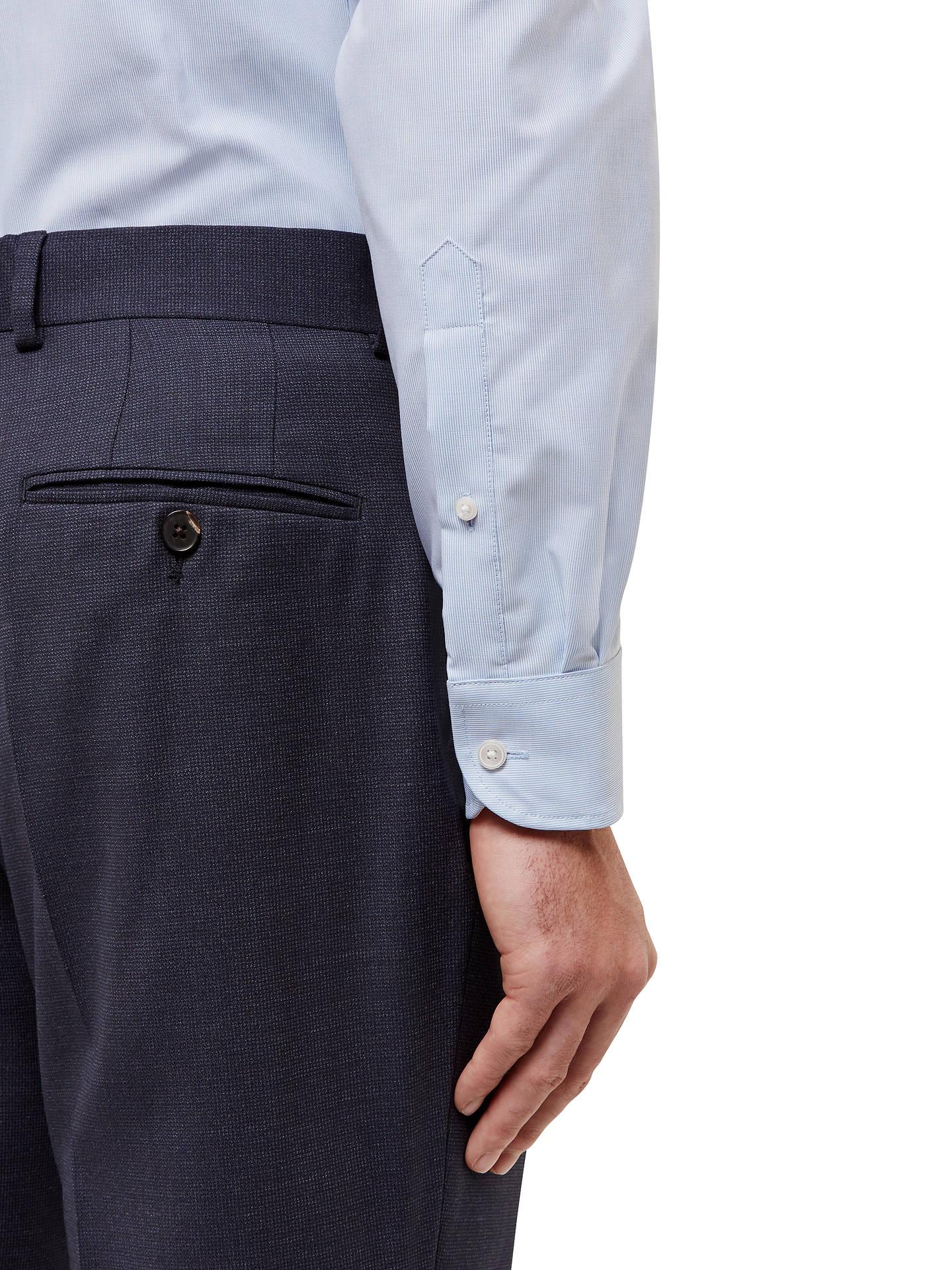 ca8fe0ba ... Buy Jaeger Vertical Stripe Slim Fit Cotton Linen Shirt, Light Blue, 15  Online at